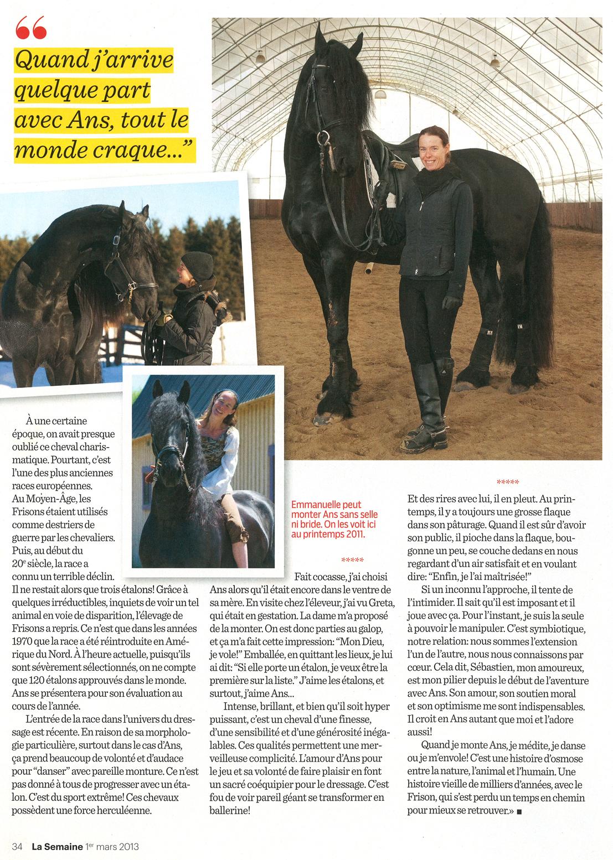 magasine magazine la semaine étalon noir médias cheval populaire